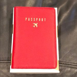 AIMEE KESTENBERG RED LEATHER PASSPORT COVER